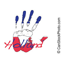 Holland. - Hand painted flag of Holland.