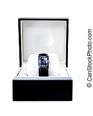 Luxury watch in black box - This photograph represent a...