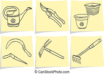 Illustration of gardening tools on yellow memo sticks - doodle style