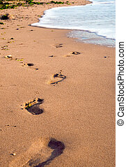 Foot prints on beach - Foot prints on a sandy beach
