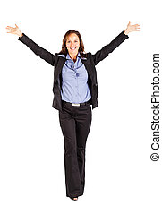 cheerful businesswoman with arms open