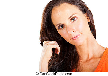 pretty middle aged woman portrait - pretty middle aged woman...