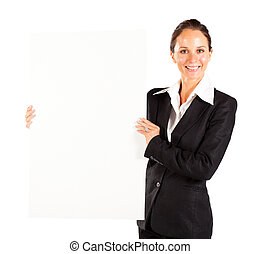 businesswoman holding white board
