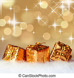 Christmas decoration on defocused lights background - Gold...