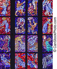 Stained-glass window in Catholic temple