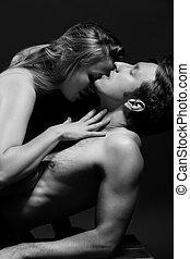 B&W portrait of a passionate couple - B&W close up portrait...