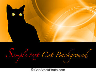 black cat on the orange background