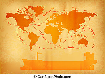 ship transportation on the old world map