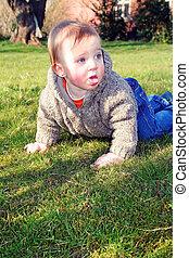 child garden lawn crawling