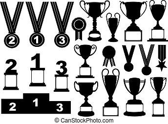 Trophies and medals set isolated on white