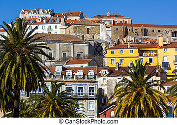Alfama - the old town of Lisbon, Portugal - a view of Alfama...
