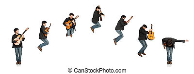 Guitar Player Jumping Sequence - Isolated Guitar Player...