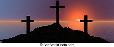 cross and mountain
