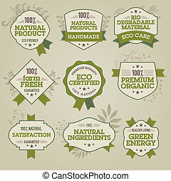 Set of natural labels - Set of vector natural labels for web...
