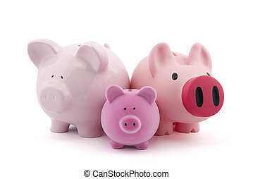Family of piggy banks with clipping path