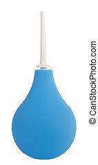 blu, medico, aspirazione, bulbo, isolato, bianco, fondo