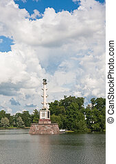 Chesme Column in Tsarskoye Selo commemorates three Russian naval victories in the Russo-Turkish War, 1768-1774, specifically the Battle of Chesma.