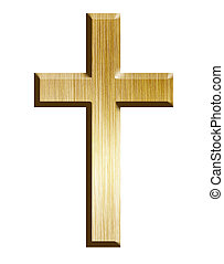 Golden cross, isolated on a white background with clipping...