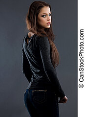 young sexy woman in blue jeans - young woman in blue jeans...