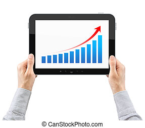 Hands Holding Tablet PC With Success Chart - Hands are...