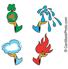 4 hands-4 elements - Set of 4 hand with 4 elements on a...