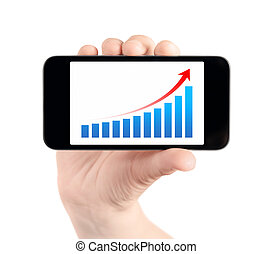 Hand Showing Mobile Phone With Success Chart - Hand holding...