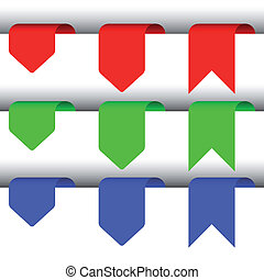 Blue, red and green vector elements