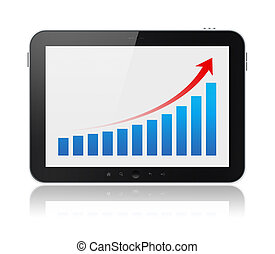 Tablet Computer Showing Success Graph Isolated - Modern...