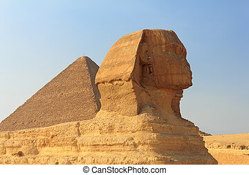 The Sphinx and the Great Pyramid, Egypt - Sphinx and the...