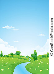 Green Landscape - Green Vector Landscape with flowers trees...