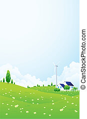 Landscape with House and Wind Power Station