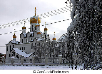 christians temple in winter holiday