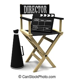 Chair director, movie clapper and a megaphone on white...