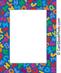 Alphabet Frame, Blue Background - Alphabet Frame, multicolor...