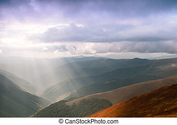 Sunrays in mountains