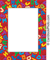 Alphabet Frame, Red Background - Alphabet Frame, multicolor...