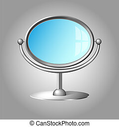 Modern cosmetic mirror with silver metal frame and handle...