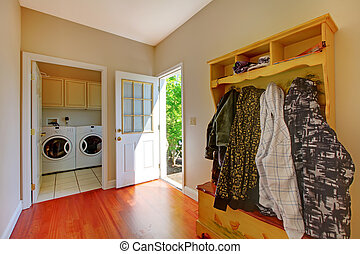 Laundry room with mud room. - Laundry room with mud room and...