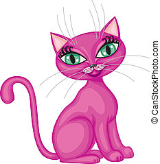 Cute kitty - Cute magenta kitty sitting bent tail