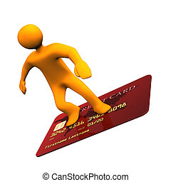 Credit Card Surfer - Orange cartoon character on the credit...