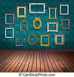 vintage frame in blue wallpaper room