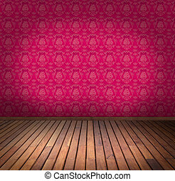 pink wallpaper room