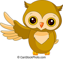 Fun zoo. Owl - Fun zoo. Illustration of cute Owl