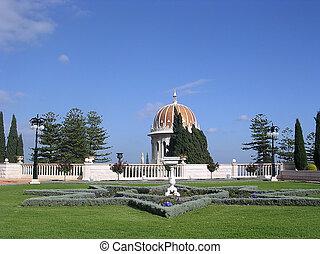 Haifa Bahai Gardens eight-pointed star 2003 - A flower bed...