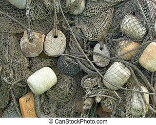 glass float, old fishing nets - float, stone sinker old...