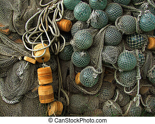 glass float, old fishing nets - glass, plastic float, old...