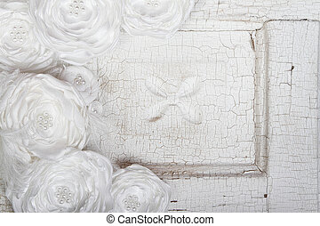 White Vintage flowers on a vintage background - White...