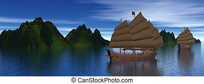 Oriental junk boats