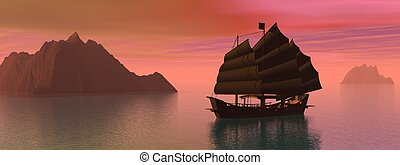 Oriental junk boat - Silouhette of oriental junk boat on...