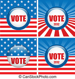 Vote Buttons. Set of four with Background - Vector - Vote...